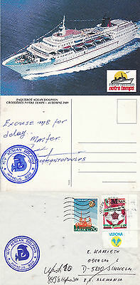 Greek Passenger Ship Aegean Dolphin A Ships Cached Cover & Cap Signed Postcard