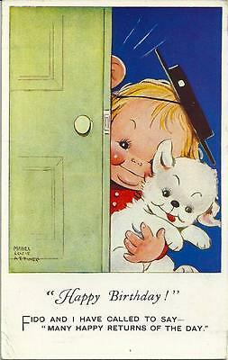 """Mabel Lucie Attwell, Child in hat with Fido the dog """"Happy Birthday"""" postcard."""