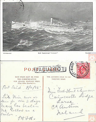 Angleterre - PAQUEBOT - SOUDAN - Troopship N°2 - Posted at Sea 1908 - Port-Said