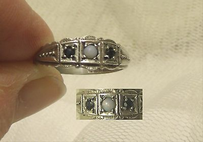 Vintage 1978 Silver Sapphire & Opal Victorian Style Ring. Ukt½. Us10 See Picture