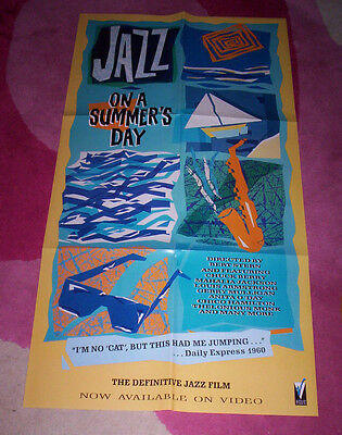 JAZZ ON A SUMMERS DAY POSTER. 80's promo for video. 40x76 cms folded unused.
