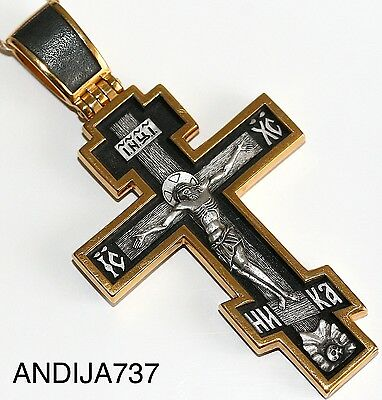 Big Russian Greek Orthodox Icon Cross,Silver 925+.999 Gold Precious Cross Prayer