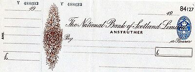 Unused National Bank of Scotland Limited  19**  Cheque with  counterfoil