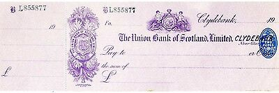 Unused, The Union Bank of Scotland Limited 19** Cheque with  counterfoil