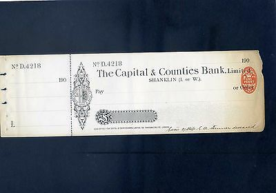 Unused The Capital & Counties Bank Ltd 190* Cheque with  counterfoil