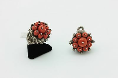Antique Original Silver Russian Amazing Coral Ring And Pendant