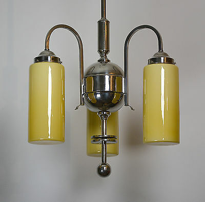 Grosse Bauhaus Art Deco Funktionalismus Deckenlampe Nickel