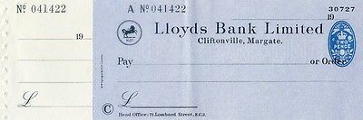 Unused Lloyds Bank Limited Cheque with counterfoil 19**, Margate