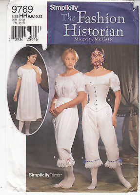 Chemise Drawers Corset Historic Fastions Underwear Simplicity Sew Pattern 9769
