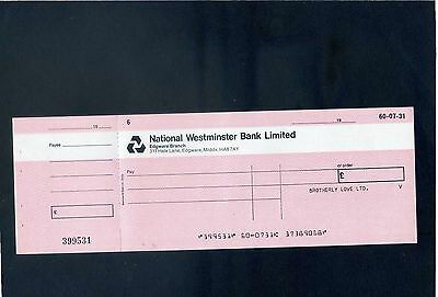 Unused National Westminster Bank Limited  19**  Cheque with  counterfoil