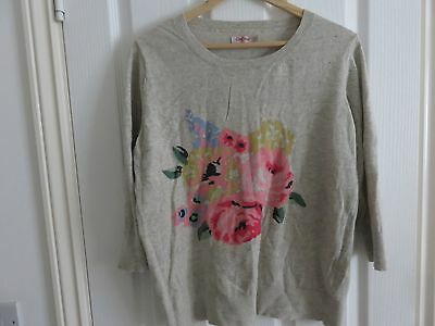CATH KIDSTON Floral Intarsia Jumper Size L 3/4 Sleeves Oat Colour Mother's Day
