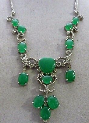Estate Chinese FANCY Green Jadeite Silver Dangle Necklace OUTSTANDING
