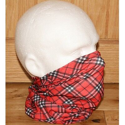 Mens Red Black White Tartan Plaid Check Tube Snood Scarf Biker Face Mask