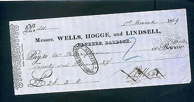 Messrs Wells, Hogge and Lindsell  Bank  Cheque 1859