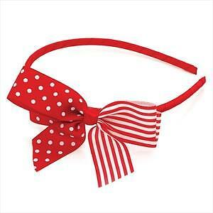 Ladies / Girls Red & White Head Alice Band Bow Feature Hair Accessory Gift
