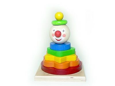 Stacking tower Clown 90 x 90 x 110 NEU Stack pyramid Plug-in tower Wooden toy