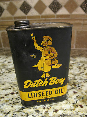 Vintage DUTCH BOY Raw Linseed Oil Pint Can. FULL NATIONAL LEAD Co.