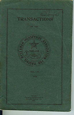 Transactions of The Manchester Association for Masonic Research - 1926 Vol. IV