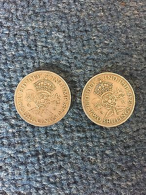 2 1948 Two Shilling Coins