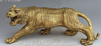 """15"""" Chinese Bronze Fengshui Zodiac Year Animal Ferocious Tiger Tigers Statue"""