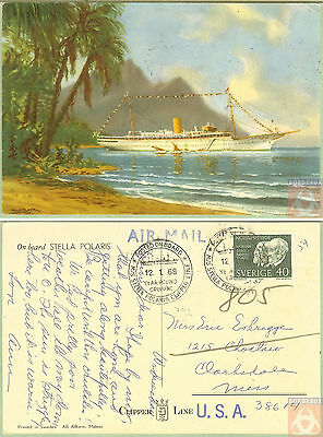 Suède - Carte Postale PAQUEBOT - STELLA POLARIS - Posted on Board 1968