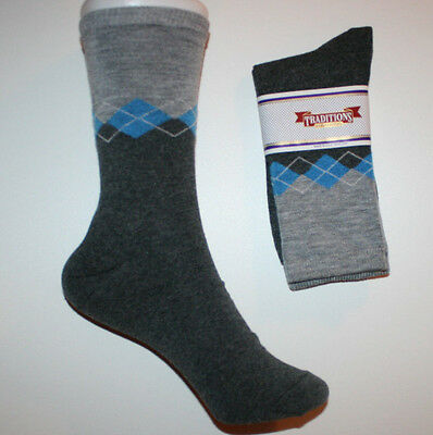 Women's Teens Designer Novelty Crew Socks 9-11 - Gray and Blue Argyle Diamonds