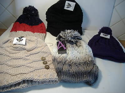 Job Lot Of 5 Assorted Beanie Hats Bnwt