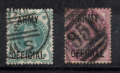 Great Britain, 2 postage due stamps, ARMY OFFICIAL