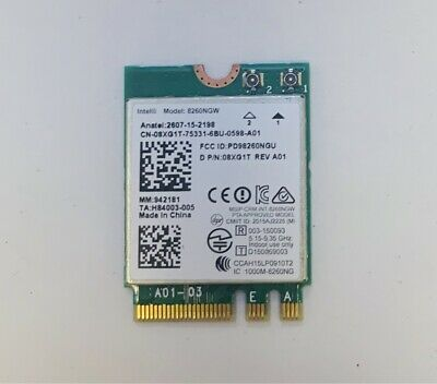 Intel Wlan-karte Wifi Model 8260NGW DP/N: 08XG1T 802.11ac M.2 NGFF / i-134