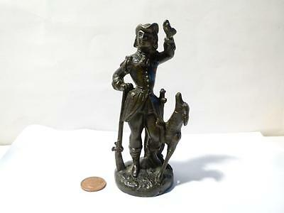 Antique Classic Statue Figurine of Hunter & His Dog. Lead Spelter  5 inch Tall