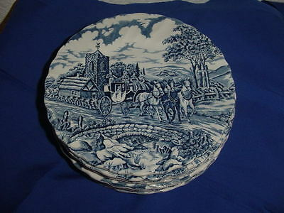 8  Myott Royal Mail Bread and Butter Plates Blue England