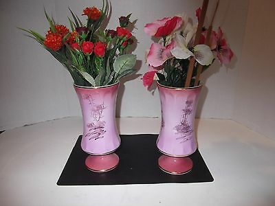 Set of (2) Handpainted, Pedestal Vases, Trimmed in Gold, Made in Portugal 3030