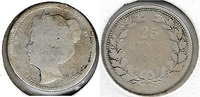 Netherlands 25 Cents  1903 SILVER