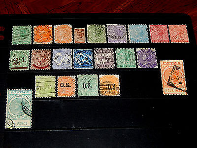South Australia stamps - 22 used early stamps - super !