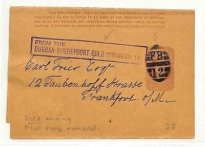MM202 1890s GB Roodepoort *Gold Mining*Wrapper Rare Numeral {samwells-covers}PTS