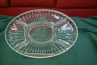 Vintage clear glass Glass Oval Relish Serving Dish Plate 5 dividers