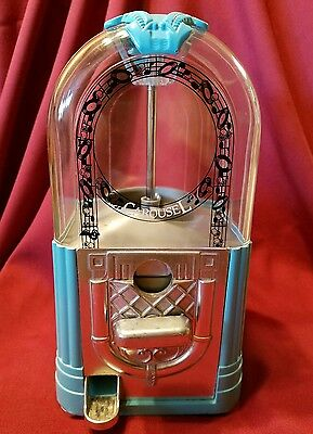 Vintage -Blue Carousel Juke Box Gumball Candy Dispenser Coin operated !