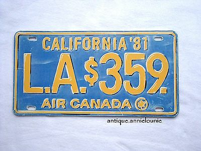 *AIR CANADA L.A. $359 CALIFORNIA'81 Vanity Plastic Vintage License Plate