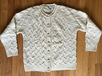 Vtg 60s Blairmoor Originals Cream Cable Cardigan Sweater All Wool Hand Loomed 40