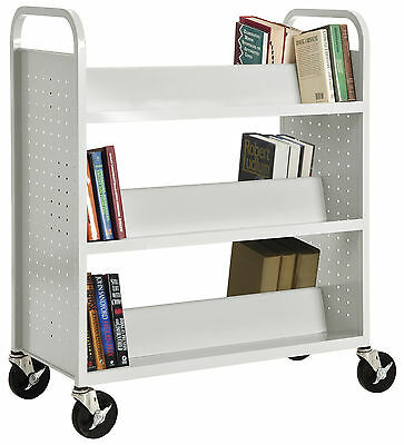 Sandusky Cabinets Double-Sided Book Cart White