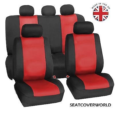 MINI - FULL SET OF RED/BLK LEATHERETTE CAR SEAT COVERS Coupe Roadster Paceman
