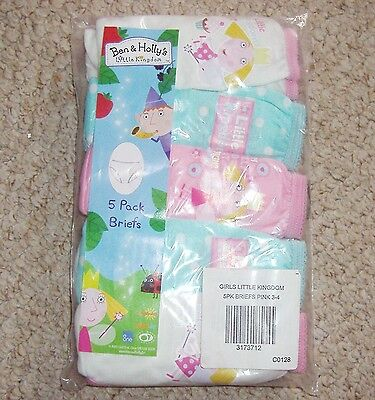 Girls 5 Pack Of Cotton Briefs Knickers Ben And Holly's Little Kingdom Age 3-4