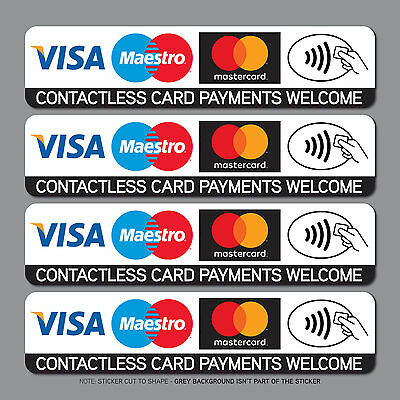 Contactless Credit Card Payments Stickers Taxi Shop VISA Mastercard - SKU2539