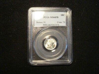 "1944-D ""Mercury"" Dime Winged Liberty PCGS MS 66 FB!!!!!!! Silver!!"