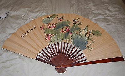 Vintage Antique HAND PAINTED Asian WALL FAN Chinese Japanese Oriental Large Bird