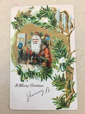 Santa Claus Old World Brown Trim Horse Book Merry Christmas