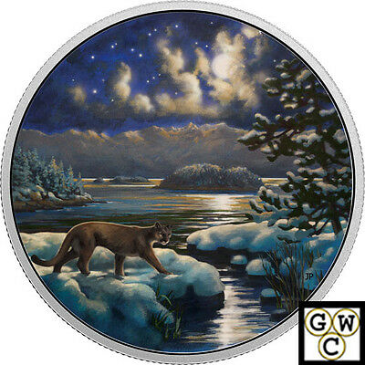2017- 2oz. $30 SILVER .9999 FINE COIN ANIMALS IN THE MOONLIGHT:COUGAR(17985)(NT)