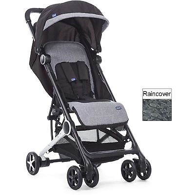 Chicco Mini.mo Lightweight Baby Pushchair Stroller Black Knight With Raincover