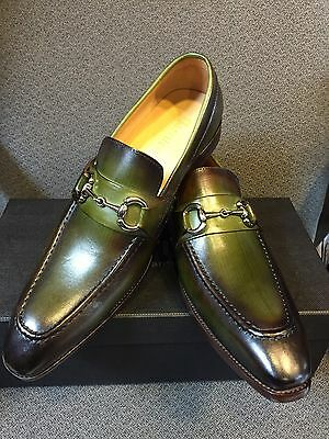 NEW CARRUCCI Men's Green Dress Leather Bit Loafer Slip On Shoes  Size 9