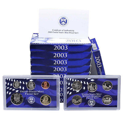 2003 S Proof Set 10 Pack Nice Original Boxes & COAs US Mint 100 Coin Lot